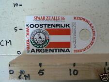 STICKER,DECAL WK ARGENTINA 1978 VOETBAL,SOCCER JH HENKES OOSTENRIJK AUSTRIA
