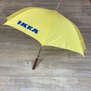 "IKEA Yellow Handheld Umbrella with Wooden Handle 34.5"" long Blue IKEA Lettering"
