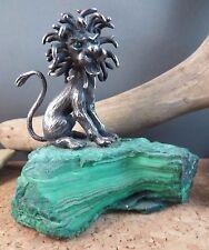 Rare James Schwabe Malachite Gemstone & Sterling Silver Lion Figurine Sculpture