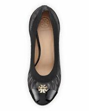ab90ad52230a Tory Burch Jolie Logo 65mm Black Leather Patent Elastic Wedge Pump US 10