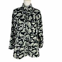 New Susan Graver Womans Printed Polar Fleece Button Front Jacket Sz XS