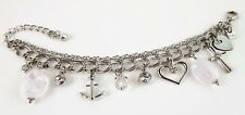 £50 Boho Nautical Silver Anchor Heart Charm Bracelet Swarovski Elements Crystal