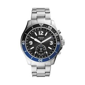 Hybrid Smartwatch FOSSIL FB-02 FTW1305 Edelstahl Schwarz Blau