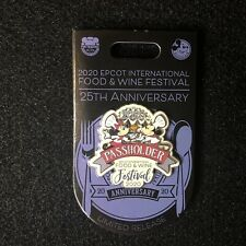 Disney Epcot Food And Wine 25th Anniversary Chef Mickey Minnie Passholder Pin Lr