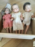 Antique Vintage 1920s 30s Celluloid Doll Dolls + Wood Cradle