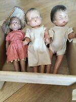 Antique Vintage 1920s 30s Celluloid Doll Dolls + Wood Cradle