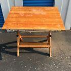 Vintage Cast Iron & Wood Drafting/Artist Table MCM Architect Industrial Artist