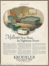 1926 KROEHLER advertisement, Kroehler pull-out bed, Davenport large size advert