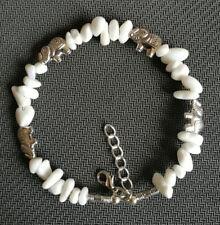Ladies Bangle Tibetan Silver Elephant Chip White Jade Bead Bracelet Jewelry
