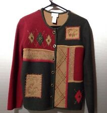 Koret Woman's 100% Wool Small Button Long Sleeve Jacket Sweater