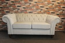 NEXT GOSSFORD, CHESTERFIELD STYLE SMALL 2 SEATER FABRIC SOFA IN NATURAL FABRIC