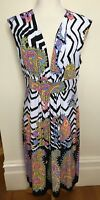 CHARLIE BROWN Brand New Multi Colour Paisley Stretch Jersey Sleeveless Dress 16