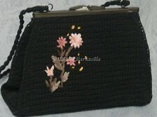 Black Evening bag  with Ribbon embroidery clutch style new