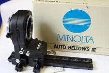 Minolta autobellows III, Cambio/inclinación en caja, perfecto, MD Cámara/Lente Monte Para Macro