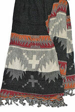 Negro Naranja Rojo Chevron Manta 180x130cm Suave 100% algodón