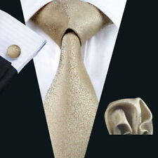 100% Silk Light Gold Men Tie Set Matching Pocket Square Cufflink Men Necktie Set