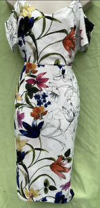 Soon Size 12 White Floral Lined Fitted Hidden Back Zip Knee Length Dress