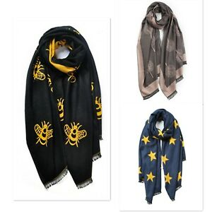 Reversible Cashmere Blend Star Tree Bee Print Woman Girl Cosy Winter Scarf