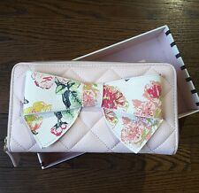 New Betsey Johnson Floral Bow Zip Around Wallet Diamond Quilt Blush Pink GiftBox