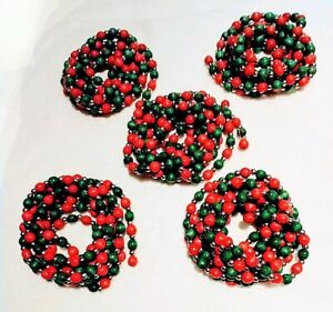 RED, GREEN & GOLD Wood Bead Christmas Garland 15 yards or 45 feet (5 lengths)