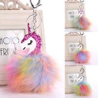 Fashion Unicorn Horse Pom Pom Cell Phone Car Keychain Pendant Handbag Key Ring