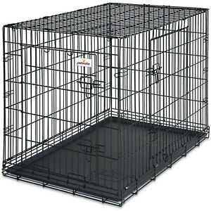 Petmate Double Door Training Retreat Wire Kennel Dog Crate with Divider, Black