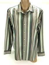Tommy Bahama Denim Men's Cotton Multi-Color Striped Long Sleeve Dress Shirt XL
