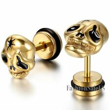 Stainless Steel Skull Head Men's Hip-hop Punk  Ear Studs Earrings Halloween Gift