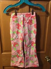 Lilly Pulitzer Girls 6 Long Pink/Green Fruit/Floral Printed Pants /w Pockets EUC
