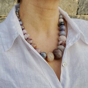 ZARD Natural Agate Necklace with Lilac Grey Graduated Stone Beads Handmade