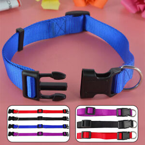 Dog Puppy Cat Adjustable Buckle Collar Pets Solid Color Collar Necklace S-XL