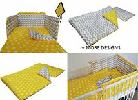 GREY CHEVRONS-YELLOW BABY BEDDING SET -COT -COT BED -BUMPER+DUVET, PILLOW COVERS