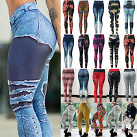 Ladies Women's Yoga Pants Fitness Leggings Running Exercise  Skinny Trousers