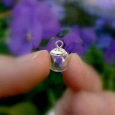 5 Glass Pendant w/Simple Sterling Silver Caps 925/vials/miniature/bottles/balls