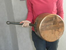 COPPER COOKING POT LARGE CAULDRON forged french saute Leader Cookware old pan