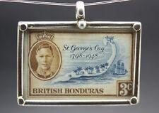 1949 BRITISH HONDURAS STAMP PENDANT set in .925 STERLING SILVER FREE SHIPPING !!
