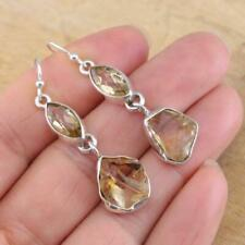 Citrine Rough & Cut 925 Sterling Silver Drop Earrings Jewellery