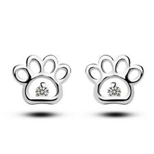 925 Silver Paw with Crystal Stud Earrings