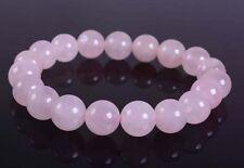 New 10mm Fashion Rose quartz round gemstone beads stretchable bracelet 7.5 J30