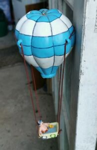 RESIN HOT AIR BALLOON WITH MAN IN A BATH IN THE BASKET, GOOD CONDITION & FUNNY