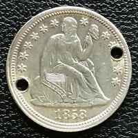1858 Seated Liberty Dime 10c AU - UNC Det. Holed #13363