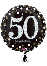 Black and Gold 50th Birthday Helium Balloon