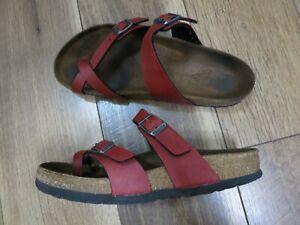 Birkenstock Women's Red Buckle Mayari Thongs Slides Sandals Sz 7 EU 38
