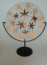 """Kosta Boda Anna Ehrner Hand Painted Gold Snowflake Platter 13"""" with Stand"""