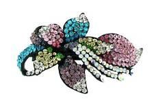 New Multicoloured Crystal Lily Flower Black Hair Barrette Wedding Prom