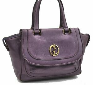 Authentic GUCCI Hand Bag Leather Purple A7372