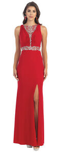 May Queen Women's Elegant Mid Slitted Evening Prom Formal Dress