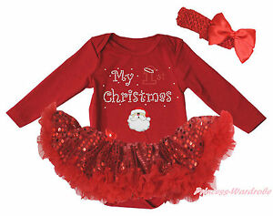 My 1ST Christmas Santa Claus Red L/S Bodysuit Girl Sequins Baby Dress Set NB-18M