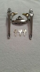 Classic Mini MK3 Chrome Door Handles, Boot Handle & Lock Set (with 3 keys)