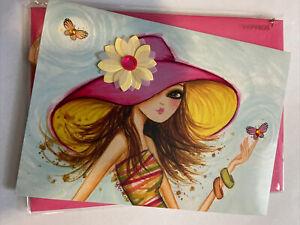 Papyrus Blank Card - Fashion Girl w/ Sun Hat & Butterflies